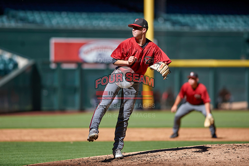 Matt Tabor (31), the Arizona Diamondbacks third round selection of the 2017 MLB Draft, follows through on his delivery during an Instructional League game against the Kansas City Royals on October 14, 2017 at Chase Field in Phoenix, Arizona. (Zachary Lucy/Four Seam Images)