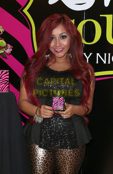 Nicole Snooki Polizzi.Nicole ?Snooki? Polizzi launches her newest fragrance ?Snooki Couture? and ?Snooki  Nails? her latest beauty creation at Perfumania Las Vegas, Las Vegas, NV., USA. .January 9th, 2013.half length black dress top brown gold leopard print leggings 3/4.CAP/ADM/MJT.© MJT/AdMedia/Capital Pictures.