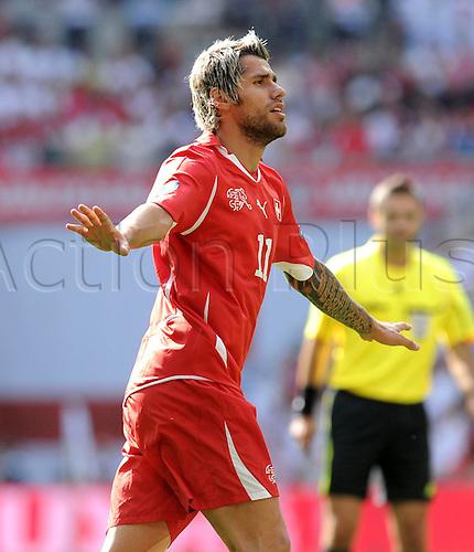 04 06 2011   euro 2012 Qualification Group A. Wembley Stadium, England.  England versus Switzerland  Valon Behrami Switzerland celebrates the second Swiss goal.