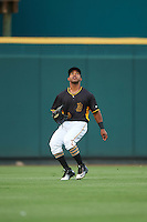 Bradenton Marauders center fielder Elvis Escobar (16) during a game against the Lakeland Flying Tigers on April 16, 2016 at McKechnie Field in Bradenton, Florida.  Lakeland defeated Bradenton 7-4.  (Mike Janes/Four Seam Images)