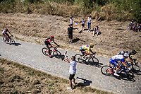 Peloton with Yellow Jersey Greg Van Avermaet (BEL/BMC) on the 2nd cobble section (#14) of the stage<br /> <br /> Stage 9: Arras Citadelle > Roubaix (154km)<br /> <br /> 105th Tour de France 2018<br /> ©kramon