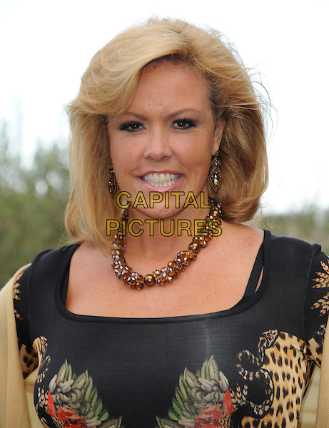 Mary Murphy<br /> 6th Annual Oceana SeaChange Gala held at a Private Villa, Laguna Beach, California, USA.     <br /> August 18th, 2013<br /> headshot portrait necklace beads beige green orange pink purple print  tropical leopard <br /> CAP/DVS<br /> &copy;DVS/Capital Pictures