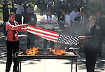 Members of Nevada Boys State participate in the ninth annual American Legion Department of Nevada Boys State Flag Retirement Ceremony on Friday, June 17, 2011 in Carson City, Nev. .Photo by Cathleen Allison