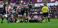 Ospreys' Rhys Webb gets the ball away from the base of a ruck.<br /> <br /> Photographer Dan Minto/CameraSport<br /> <br /> Guinness Pro14 Round 13 - Ospreys v Cardiff Blues - Saturday 6th January 2018 - Liberty Stadium - Swansea<br /> <br /> World Copyright &copy; 2018 CameraSport. All rights reserved. 43 Linden Ave. Countesthorpe. Leicester. England. LE8 5PG - Tel: +44 (0) 116 277 4147 - admin@camerasport.com - www.camerasport.com