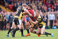 Picture by Allan McKenzie/SWpix.com - 22/04/2018 - Rugby League - Ladbrokes Challenge Cup - York City Knight v Catalans Dragons - Bootham Crescent, York, England - Catalans Antoni Maria is tackled by York's Adam Robinson and Tim Spears.