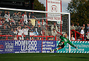 Simon Overland of Hayes and Yeading is beaten by Charlie Griffin's penalty for his third goal during the Blue Square Premier match between Stevenage Borough and Hayes and Yeading United at the Lamex Stadium, Broadhall Way, Stevenage on 10th October, 2009..© Kevin Coleman 2009 .