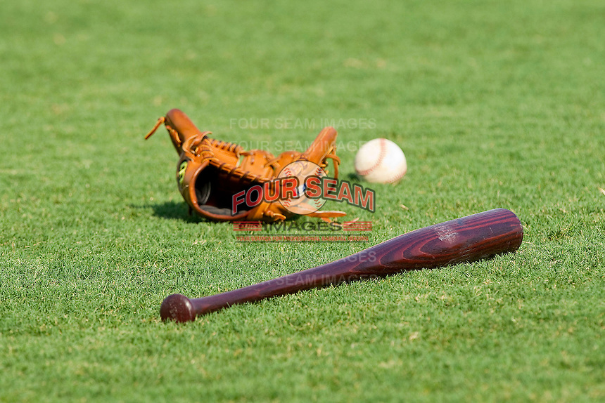 Baseball equipment lies in the grass prior to the game between the Harrisburg Senators and the Richmond Flying Squirrels in game one of a double-header at The Diamond on July 22, 2011 in Richmond, Virginia.  The Squirrels defeated the Senators 3-1.   (Brian Westerholt / Four Seam Images)