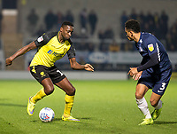 3rd December 2019; Pirelli Stadium, Burton Upon Trent, Staffordshire, England; English League One Football, Burton Albion versus Southend United; Lucas Akins of Burton Albion with the ball at his feet marked by Nathan Ralph of Southend United  - Strictly Editorial Use Only. No use with unauthorized audio, video, data, fixture lists, club/league logos or 'live' services. Online in-match use limited to 120 images, no video emulation. No use in betting, games or single club/league/player publications