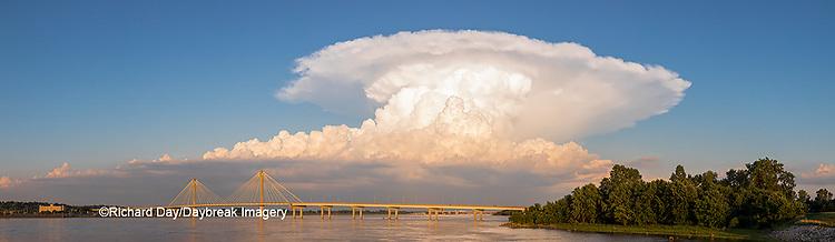 63895-14519 Clark Bridge over Mississippi River and thunderstorm (Cumulonimbus Cloud) Alton, IL