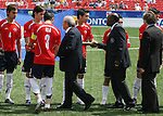 22 July 2007: Chile's Mauricio Isla (3) introduces his team to FIFA President Sepp Blatter (black suit on the left) and CONCACAF President Jack Warner (center). At the National Soccer Stadium, also known as BMO Field, in Toronto, Ontario, Canada. Chile's Under-20 Men's National Team defeated Austria's Under-20 Men's National Team 1-0 in the third place match of the FIFA U-20 World Cup Canada 2007 tournament.