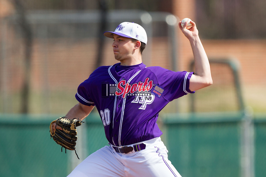 High Point Panthers starting pitcher Mike Krumm (20) in action against the Coastal Carolina Chanticleers at Willard Stadium on March 15, 2014 in High Point, North Carolina.  The Chanticleers defeated the Panthers 1-0 in game one of a double-header.  (Brian Westerholt/Sports On Film)