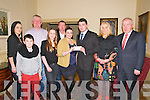 First Responders Presentation : Jasamine Kelly on behalf of the Denis Kelly Foundation presenting a cheque to Joshua Kelly of the Listowel First Responders Unit a the Listowel Arms Hotel on Saturday night last. Front : Jacob Lucey, Bryony, Jasamine, Joshua & Geraldine Kelly & Minister fir the Arts, Heritage & the Gaeltach, Jimmy Deenihan, TD.Back : Carine Fitzmaurice, Frank Neylan & Martin Walsh.