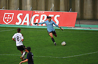 USA goalkeeper Hope Solo clears the ball.  The USA captured the 2010 Algarve Cup title by defeating Germany 3-2, at Estadio Algarve on March 3, 2010.