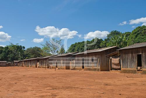Pará State, Brazil. Aldeia A-Ukre (Kayapó). Village with wooden houses.
