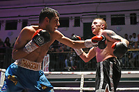 Ramez Mahmood (blue shorts) defeats Jack Budge during a Boxing Show at York Hall on 7th September 2019