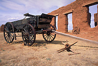 ruins, wagon and grounds of Fort Union National Monument on the Santa Fe Trail in New Mexico. NM, Santa Fe Trail.