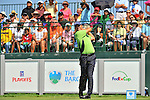 30 August 2009: Padraig Harrington of Ireland tees off on the 1st tee in the final round of The Barclays PGA Playoffs at Liberty National Golf Course in Jersey City, New Jersey.