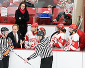 Brian Durocher (BU - Head Coach) was upset about no call on a play involving Louise Warren (BU - 28). - The Boston University Terriers defeated the Harvard University Crimson 5-2 on Monday, January 31, 2012, in the opening round of the 2012 Women's Beanpot at Walter Brown Arena in Boston, Massachusetts.