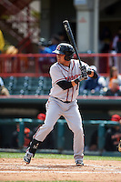 Richmond Flying Squirrels catcher Eliezer Zambrano (2) at bat during a game against the Erie Seawolves on May 20, 2015 at Jerry Uht Park in Erie, Pennsylvania.  Erie defeated Richmond 5-2.  (Mike Janes/Four Seam Images)