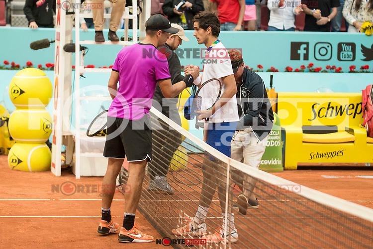 Croatian Borna Coric French Pierre-Hugues Herbert during Mutua Madrid Open Tennis 2017 at Caja Magica in Madrid, May 10, 2017. Spain.<br /> (ALTERPHOTOS/BorjaB.Hojas) /NortePhoto.com **NortePhoto.com