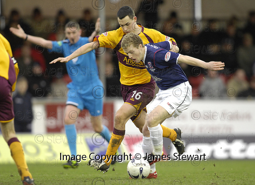 01/03/2008    Copyright Pic: James Stewart.File Name : sct_jspa04_falkirk_v_motherwell.BILLY CLARKE TRIES TO GET AWAY FROM MARC FITZPATRICK.James Stewart Photo Agency 19 Carronlea Drive, Falkirk. FK2 8DN      Vat Reg No. 607 6932 25.Studio      : +44 (0)1324 611191 .Mobile      : +44 (0)7721 416997.E-mail  :  jim@jspa.co.uk.If you require further information then contact Jim Stewart on any of the numbers above........