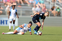 Cary, North Carolina  - Saturday April 29, 2017: McCall Zerboni (7) and Kristen Edmonds (12) during a regular season National Women's Soccer League (NWSL) match between the North Carolina Courage and the Orlando Pride at Sahlen's Stadium at WakeMed Soccer Park.