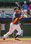 12 March 2014: Houston Astros infielder Marwin Gonzalez in action during a Spring Training game against the Washington Nationals at Osceola County Stadium in Kissimmee, Florida. The Astros rallied in the bottom of the 9th to edge out the Nationals 10-9 in Grapefruit League play. Mandatory Credit: Ed Wolfstein Photo *** RAW (NEF) Image File Available ***