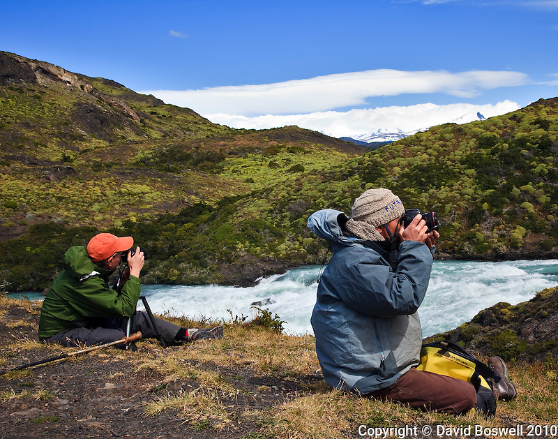 Photographing along the Paine River in Torres del Paine, Chile.