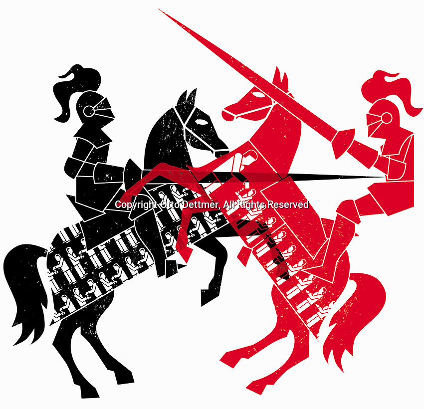 Knights jousting as contrasting economic systems