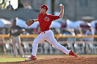Johnson City Cardinals pitcher Ross Vance (19) delivers a pitch during a game against the Elizabethton Twins at Howard Johnson Field at Cardinal Park on June 26, 2016 in Johnson City, Tennessee. The Twins defeated the Cardinals 13-12. (Tony Farlow/Four Seam Images)