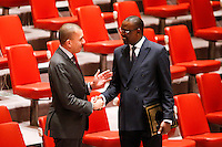 Mali's Foreign Minister Abdoulaye Diop (R ) shakes hands with a delegate while he arrives for a meeting with Members of the Security Council related to the precarious security situation in Mali, at the United Nations Headquarter in New York, 01/11/2016 Photo by VIEWpress