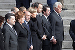 Former presidents Jose Luis Rodriguez Zapatero, Jose Maria Aznar and Felipe Gonzalez attend former President Adolfo Suarez funeral chapel in Madrid, Spain. March 24, 2014. (ALTERPHOTOS/Victor Blanco)