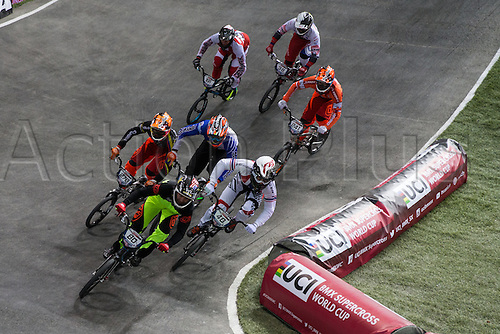 10.04.2016. National Cycling Centre, Manchester, England. UCI BMX Supercross World Cup Finals. David Herman leads from Tore Navrestad and Carlos Alberto Ramirez Yepes.