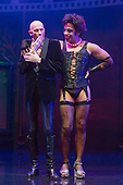 London, UK. 15 September 2015. L-R: Richard O'Brien (narrator) with David Bedella (Frank'n'furter). The Rocky Horror Show, written and starring Richard O'Brien, returns to the West End for a limited run at the Playhouse theatre from 11 September 2015. The Rocky Horror Show Gala Performance on 17 September will be broadcast live to cinemas across the UK and Europe. With Richard O'Brien as Narrator, David Bedella as Frank'n'furter, Ben Forster as Brad, Haley Flaherty as Janet and Dominic Andersen as Rocky. Photo: Bettina Strenske