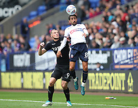 Bolton Wanderers' Jem Karacan and Leeds United's Chris Wood<br /> <br /> Photographer Rachel Holborn/CameraSport<br /> <br /> The EFL Sky Bet Championship - Bolton Wanderers v Leeds United - Sunday 6th August 2017 - Macron Stadium - Bolton<br /> <br /> World Copyright &copy; 2017 CameraSport. All rights reserved. 43 Linden Ave. Countesthorpe. Leicester. England. LE8 5PG - Tel: +44 (0) 116 277 4147 - admin@camerasport.com - www.camerasport.com
