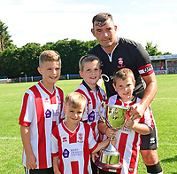 Lincoln City's Matt Rhead is presented with The City United Trophy after the game<br /> <br /> Photographer Chris Vaughan/CameraSport<br /> <br /> Football - Pre-Season Friendly - Lincoln United v Lincoln City - Saturday 8th July 2017 - Sun Hat Villas Stadium - Lincoln<br /> <br /> World Copyright &copy; 2017 CameraSport. All rights reserved. 43 Linden Ave. Countesthorpe. Leicester. England. LE8 5PG - Tel: +44 (0) 116 277 4147 - admin@camerasport.com - www.camerasport.com