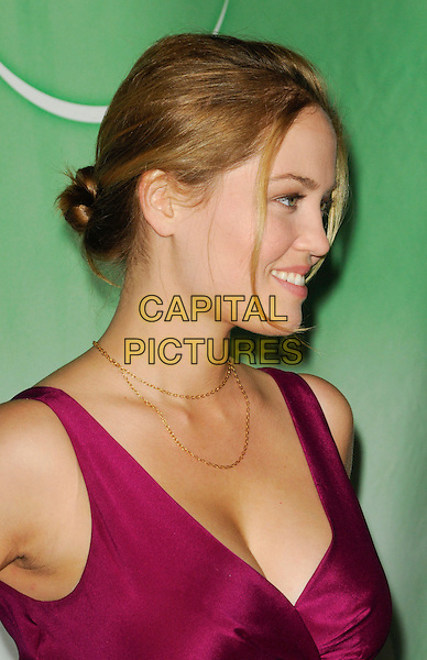 ERIKA CHRISTENSEN.The NBC Universal Press Tour Cocktail party at the Langham Huntington Hotel in Pasadena, California, USA..January 10th, 2010.headshot portrait cleavage gold chain necklace pink sleeveless magenta profile .CAP/ROT.©Lee Roth/Capital Pictures