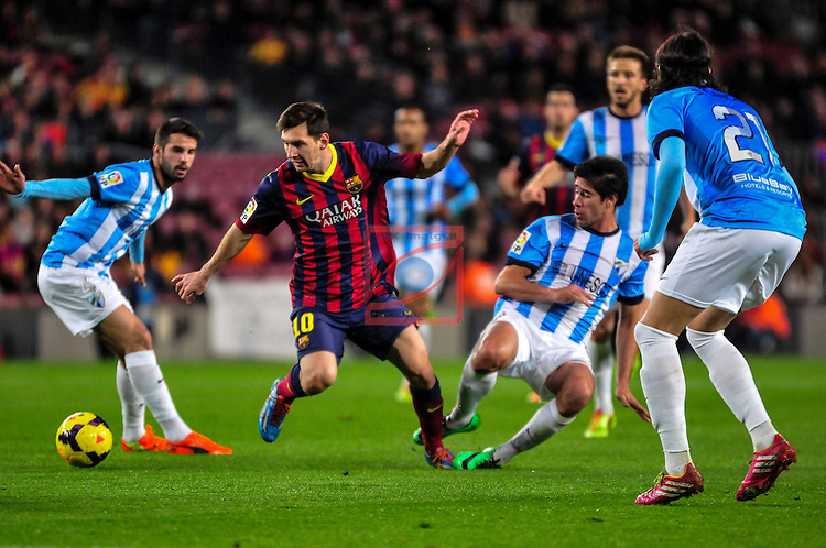 League BBVA 2013/2014 - Game: 21.<br /> FC Barcelona vs Malaga CF: 3-0.<br /> Flavio vs Messi.
