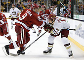 Danny Biega (Harvard - 9), Chris Kreider (BC - 19) - The Boston College Eagles defeated the Harvard University Crimson 6-0 on Monday, February 1, 2010, in the first round of the 2010 Beanpot at the TD Garden in Boston, Massachusetts.