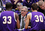 SIOUX FALLS, SD - MARCH 9:  Western Illinois head men's basketball coach Jim Molinari talks to his players during a timeout against South Dakota State during their first round game at the 2014 Summit League Basketball Championships Sunday at the Sioux Falls Arena.  (Photo by Dick Carlson/Inertia)