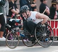 L.A. Marathon handicapped racer shows extreme determination.