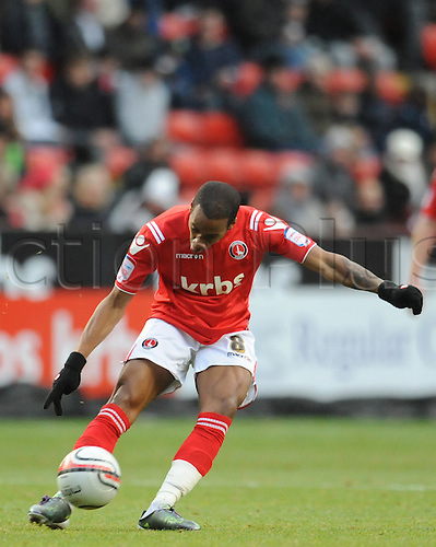 12.12.2010 League One Football from the Valley. Charlton Athletic v Walsall. Walsall won 1-0. Therry Racon of Charlton tries a shot