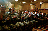 Washington, D.C. - September 5, 2006 -- Invited soldiers applaud during United States President George W. Bush's remarks on the Global War on Terror at the Capital Hilton Hotel in Washington, D.C. on September 5, 2006.<br /> Credit: Ron Sachs - Pool via CNP