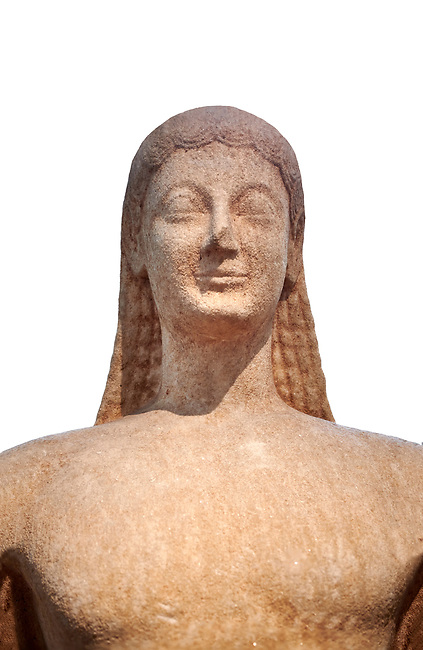 Naxian marble Ancient Greek Archaic statue of a kouros, found in Melos, circa 550 BC, Athens National Archaeological Museum. Cat no 1558. Against white.<br /> <br /> The slenderness and delicate grace of the statue is typical of the Cctladic island of