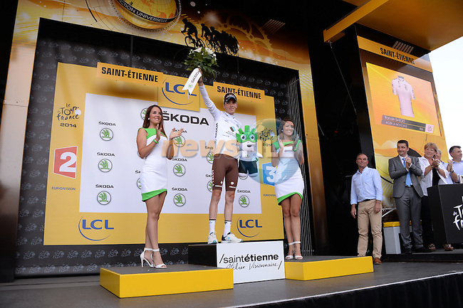 Romain Bardet (FRA) AG2R La Mondiale retains the young rider's White Jersey at the end of Stage 12 of the 2014 Tour de France running 185.5km from Bourg-en-Bresse to Saint Etienne. 17th July 2014.<br /> Photo ASO/X.Bourgois/www.newsfile.ie