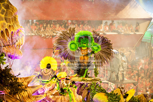 Imperatriz Leopolinense Samba School, Carnival, Rio de Janeiro, Brazil, 26th February 2017. The 'Beautiful Monster' - Belo Monstro - float. The monster on the left threatens the people of the forest, with a samba dancer with feather 'wings' to represent the animals of the forest.