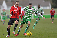 Germaine Dua Of Waltham Abbey and Liam Ferdinand of Bracknell Town during Waltham Abbey vs Bracknell Town, Bostik League South Central Division Football at Capershotts on 9th February 2019