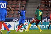 June 8th 2017, Créteil, France, U-21 International football friendly, France versus Cameroon;  Jonathan Bamba (fra) takes on Alexis Yougouda Kada (cam)