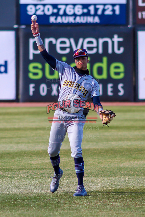 Burlington Bees outfielder Jordyn Adams (2) warms up in the outfield prior to a Midwest League game against the Wisconsin Timber Rattlers on April 26, 2019 at Fox Cities Stadium in Appleton, Wisconsin. Wisconsin defeated Burlington 2-0. (Brad Krause/Four Seam Images)