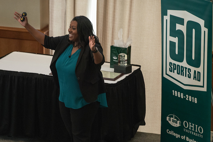 Mattie White, Associate Athletic Director for Academic Serives and the Excellence Academy at Indiana University, speaks during the Darren Butler Sports Forum hosted by the Ohio University College of Business in Walter Rotunda on Friday, October 14, 2016.